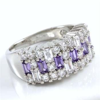 Beautifully Created Fine Amethyst and White Sapphire Ring Size 7
