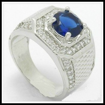 Beautifully Created Fine Blue & White Sapphire Ring Size 10