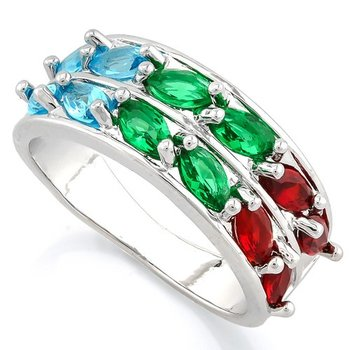 Beautifully Created Fine Multi-Color Gemstones Ring Size 7