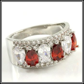 Beautifully Created Fine Ruby and White Sapphire Ring Size 7