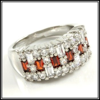Beautifully Created Fine Ruby and White Sapphire RingSize 7
