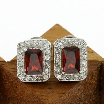 Beautifully Created Ruby and White Sapphire Earrings