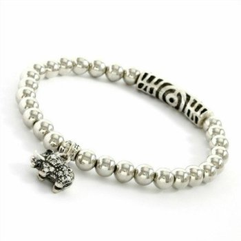 Beautifully Created White Sapphire Elephant Bracelet