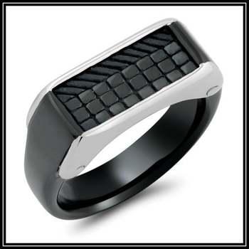 Black Men's Stainless Steel Ring Size 10