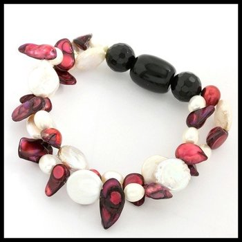 Black Onyx, Pink & White Mother of Pearl Two-Strand Stretch Bracelet