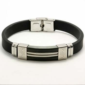 Black Silicon & Stainless Steel Bracelet
