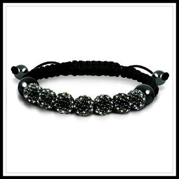 Black Swarovski Elements Hematite Shambhala Adjustable Shambhala Bracelet