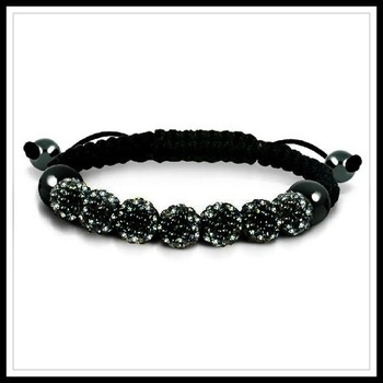 Black Swarovski Elements Hematite Shambhala Adjustable Shambhala Bracelet