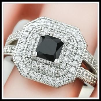 Black & White Sapphire Ring Size 7