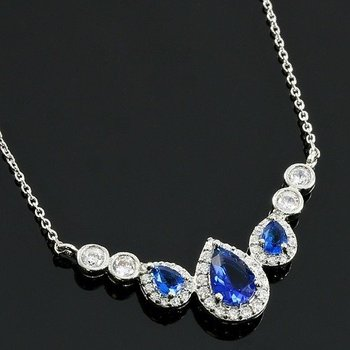 Blue and White Sapphire Necklace