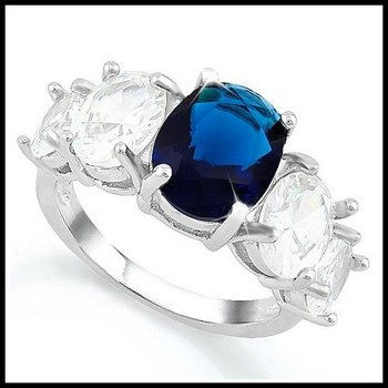 Blue and White Sapphire RingSize 7