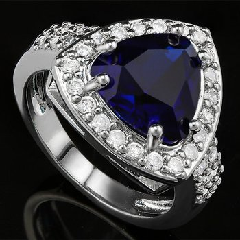 Blue and White Topaz Ring Size 7.5