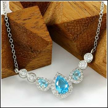 Blue Topaz and White Sapphire Necklace