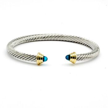 Blue Topaz Twisted Cable Bangle Cuff Bracelet