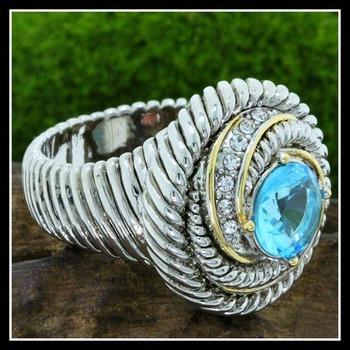 Blue Topaz & White Zircon Large Ring Size 7