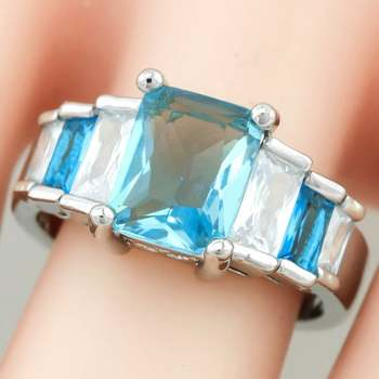 Blue & White Topaz Ring Size 7