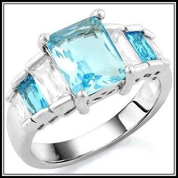 Blue & White Topaz Ring Size 8