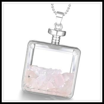 Bottle with Genuine Pink Quartz Necklace