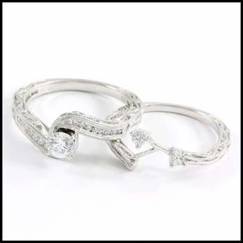 Bridal Engagement Ring Set 0.5ctw .925 Sterling Silver