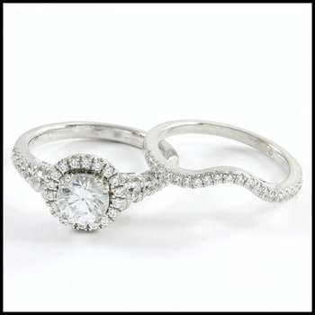 Bridal Engagement Ring Set 1.82ctw .925 Sterling Silver