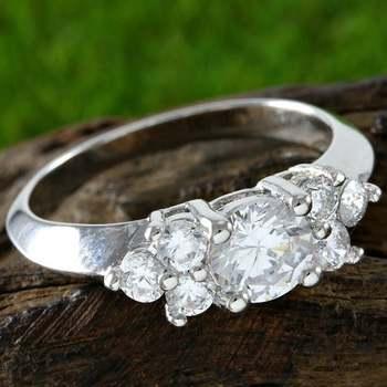 Brilliant Cut White Sapphire Engagement Ring Size 6