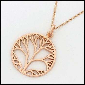 Brushed Rose Gold Over .925 Sterling Silver Tree of Life Necklace