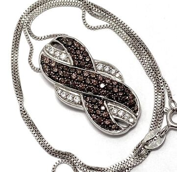BUY NOW .925 Sterling Silver 1.75ctw Chocolate & White Diamonique Chocolate Collection Necklace