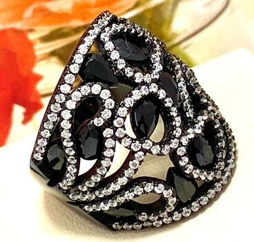 BUY NOW .925 Sterling Silver & Black Rodium 4.25ctw Black & White Diamonique Ring Size 7