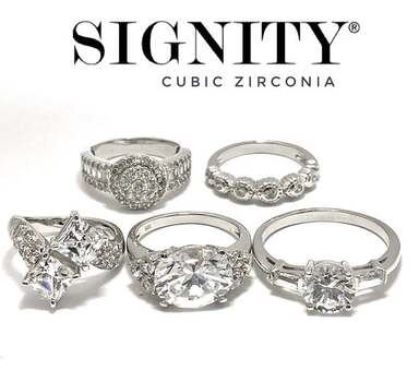 BUY NOW Attention Resellers! .925 Sterling Silver Lot of 5-6 Rings, 20.0 Grams, 32.00ctw Signity Star Cubic Zirconia