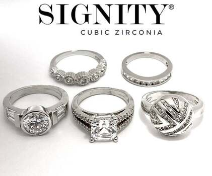 BUY NOW Attention Resellers! .925 Sterling Silver Lot of 5-6 Rings, 20.8 Grams, 31.50ctw Signity Star Cubic Zirconia