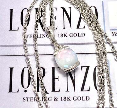 BUY NOW Authentic Lorenzo .925 Sterling Silver, 0.007ctw Genuine Diamond & 0.57ctw Opal Necklace