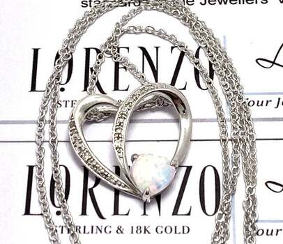 BUY NOW Authentic Lorenzo .925 Sterling Silver, 0.51ctw Opal & White Topaz Necklace