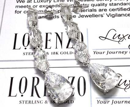 BUY NOW Authentic Lorenzo .925 Sterling Silver, 15.0ctw White Diamonique Earrings