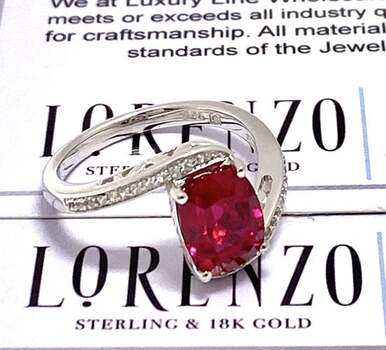 BUY NOW Authentic Lorenzo .925 Sterling Silver, 2.82ctw Ruby & White Topaz Ring Size 7
