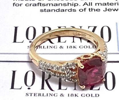 BUY NOW Authentic Lorenzo .925 Sterling Silver, 3.54ctw Ruby & White Topaz Ring Size 7
