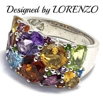 BUY NOW Authentic Lorenzo .925 Sterling Silver, 4.75ctw Genuine Multi-Color Stone Ring Size 6