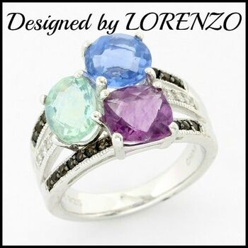 BUY NOW Authentic Lorenzo .925 Sterling Silver, 5.37ctw Multicolor Gemstones Ring sz 10