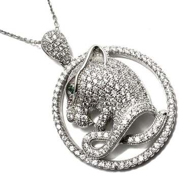 BUY NOW Solid .925 Sterling Silver, 0.02ctw Emerald & 2.50ctw White Diamonique Panther Necklace