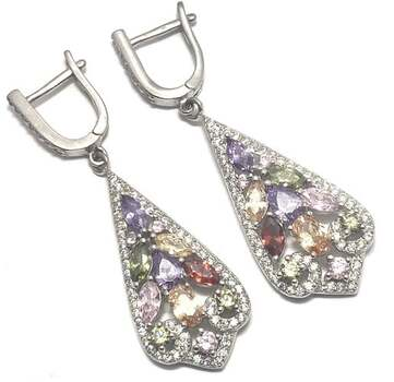BUY NOW Solid .925 Sterling Silver, 4.50ctw Multi-Color Stone Earrings