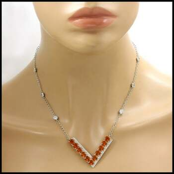 BUY NOW Solid .925 Sterling Silver Orange & White Sapphire  Necklace
