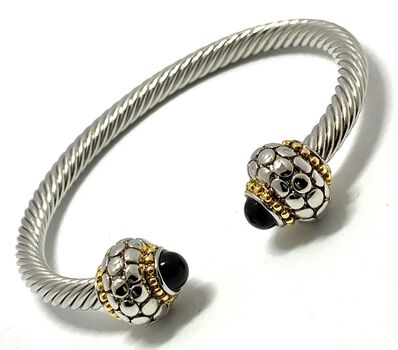 Cable Cuff Bangle Black Spinel Bracelet Two-Tone 14k Gold Over