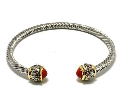 Cable Cuff Bangle Bracelet, 1.50ct Coral Two-Tone, 14k Gold Over