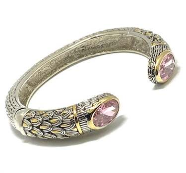 Cable Cuff Bangle Bracelet, 18.50ct Pink Topaz Two-Tone 14k Gold Over