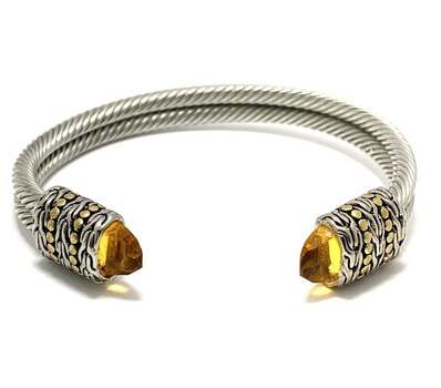 Cable Cuff Bangle Bracelet , 7.95ct Citrine Two-Tone 14k Gold Over