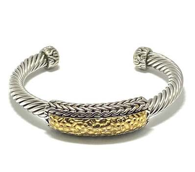 Cable Cuff Bangle Bracelet Two-Tone 14k Gold Over