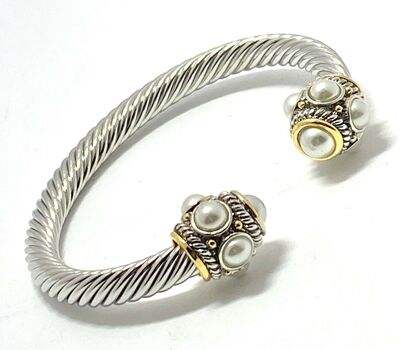 Cable Cuff Bangle Pearl Bracelet Two-Tone 14k Gold Over