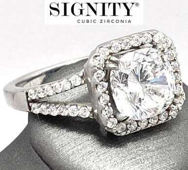 "Celebrity Jewelry Collection .925 Sterling Silver, 6.50ct ""SIGNITY STAR"" Cubic Zirconia Ring Size 8"