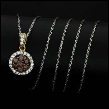 Chocolate Collection 0.37ctw White&Brown Diamonique, 925 Sterling Silver Necklace