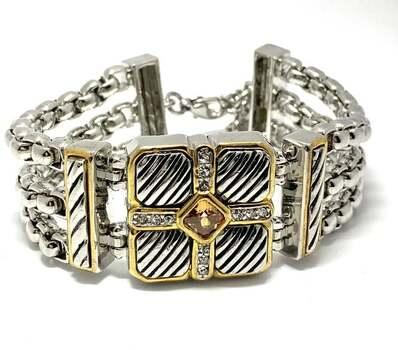 Chunky Multi Strand Cross Bracelet 2.00ct Yellow & White Topaz Two-Tone 14k Gold Over