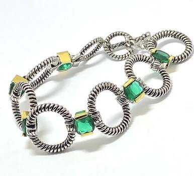 Chunky Statement Bracelet ,19.20ct Emerald Two-Tone 14k Gold Over